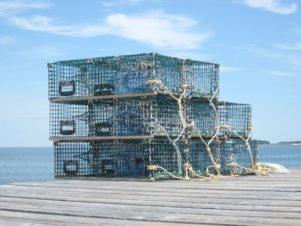 lobster traps on dock